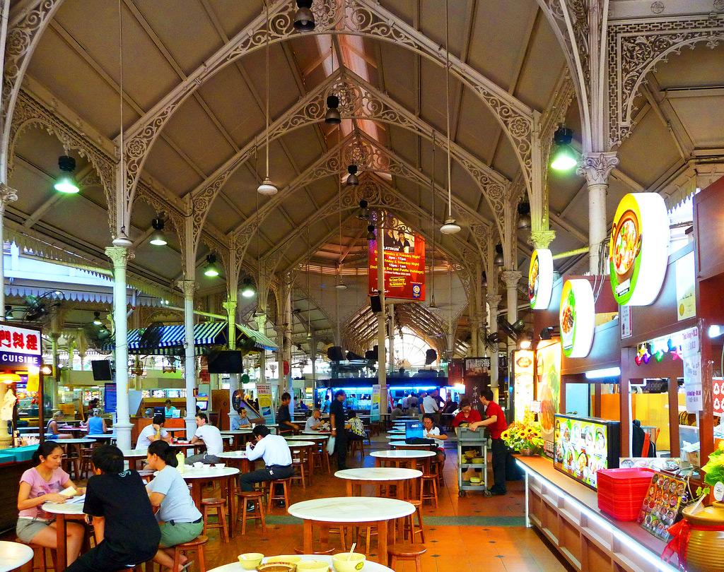Кафе на рынке LAU-PA-SAT в Сингапуре