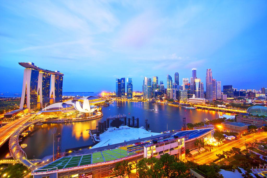 Панорама на залив в Сингапуре
