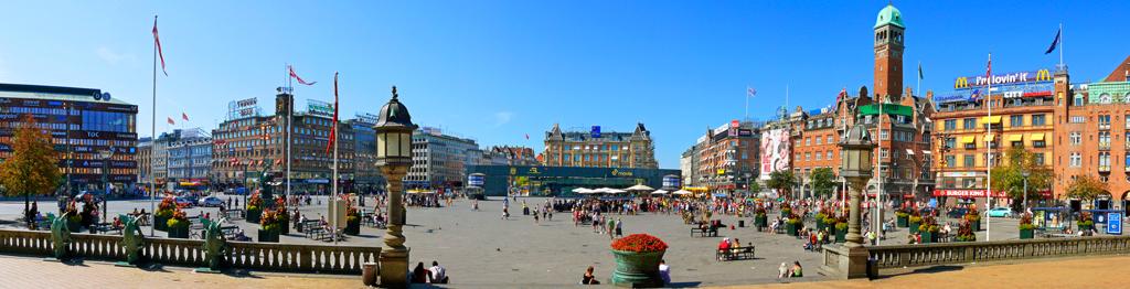 Панорама Ратушной площади в Копенгагене