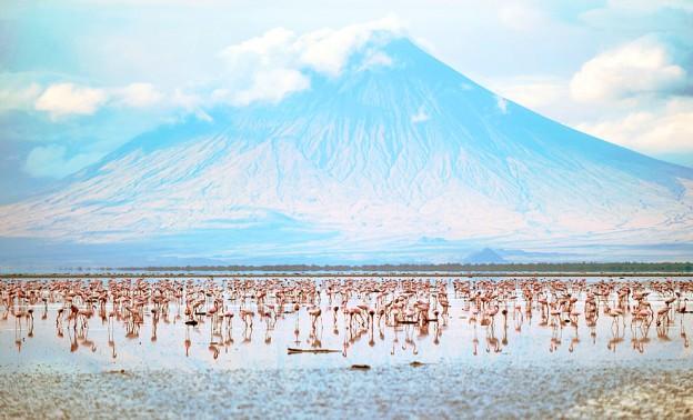 Озеро Натрон и вулкан Олдоньо Ленгай