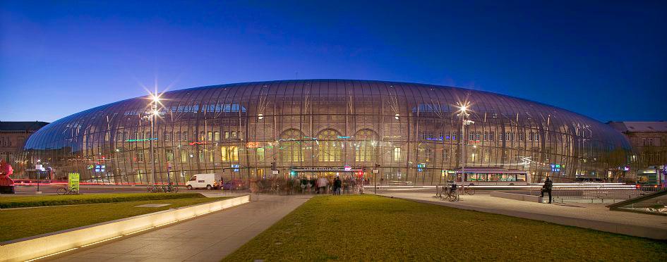 Фасад здания вокзала Ля Гар в Страсбурге