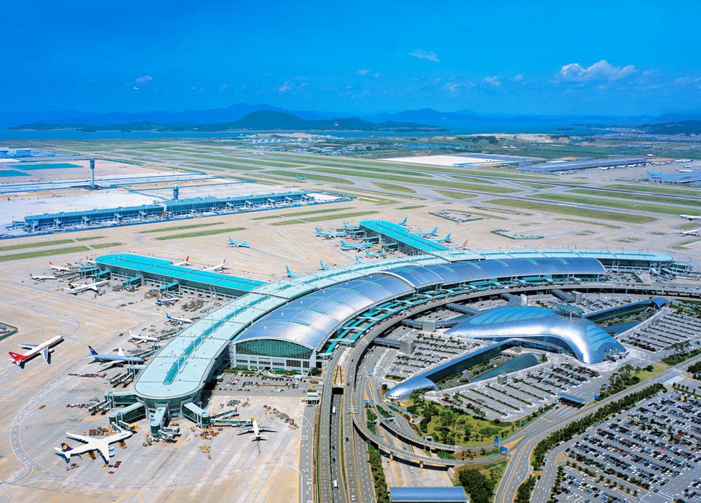 Общий вид на международный аэропорт Инчхон, Южная Корея