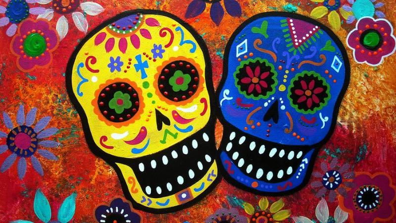 Рисунки черепов для праздника мертвых