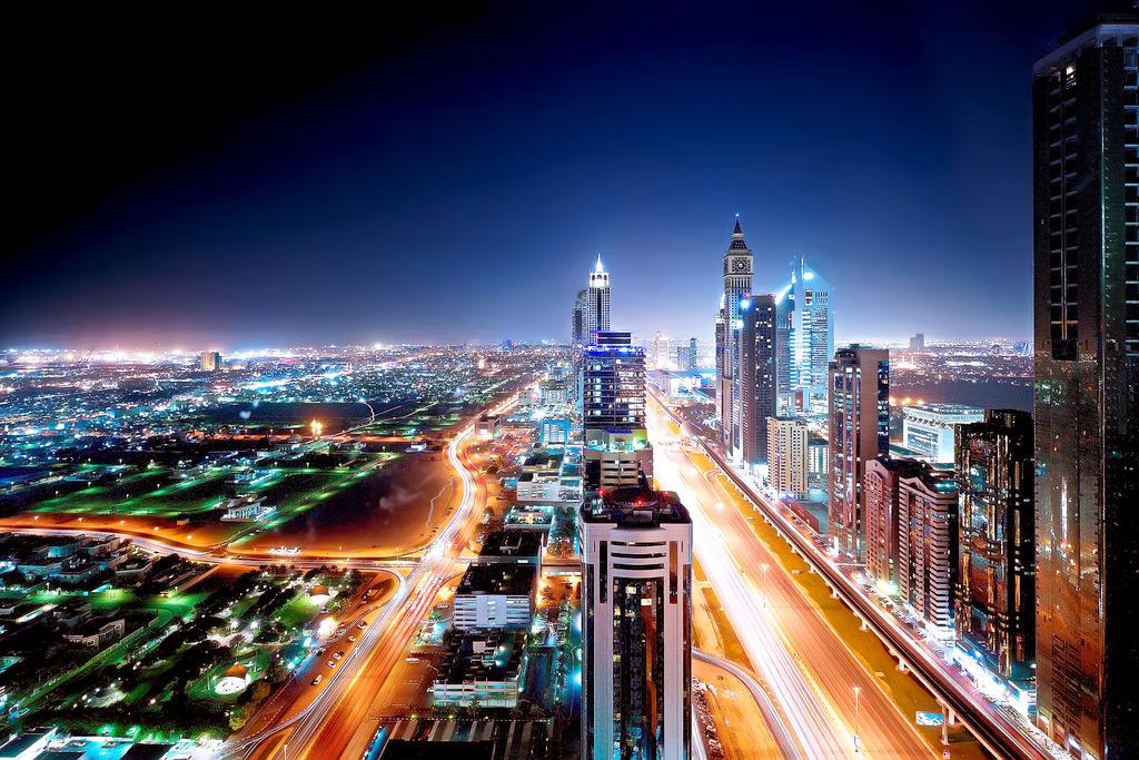Вид на ночной Дубай