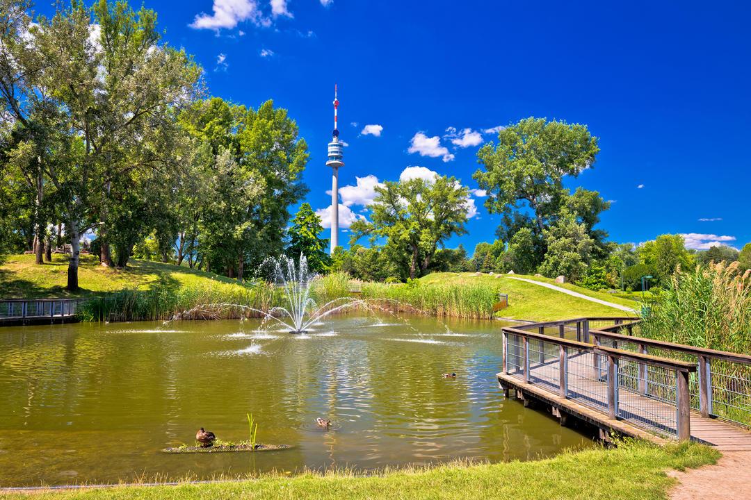 Фонтан в озере и вид на башню Донаутурм
