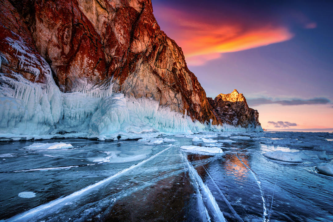 Mountains and frozen water on Lake Baikal