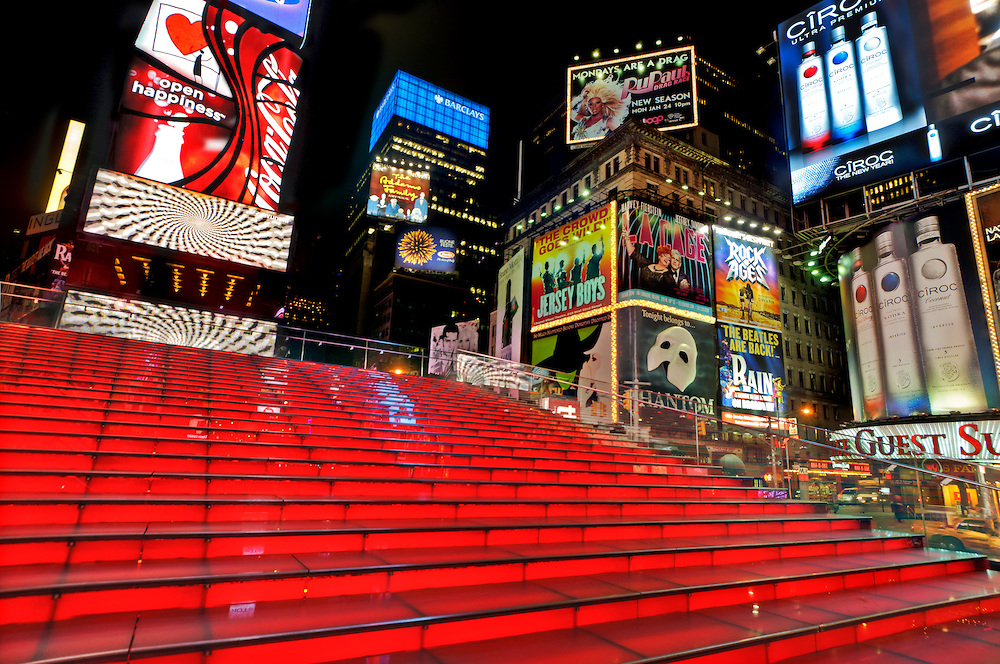 Times Square red staircase